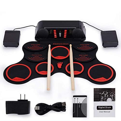 Elektronische Drums 9-Pad Rolltrommel-Kit wiht 9 Demo-Songs und 11 Begleitungen, mit 3 verschiedenen Drum-Sound Design, Macht das Lernen Leichter FDWFN