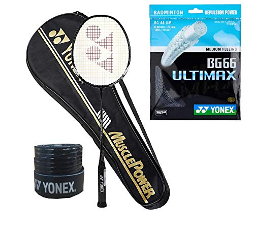 Yonex Muscle Power 29 Badminton Racquet (G4-88g) & Full Cover with BG 66 Ultimax String 1Grip