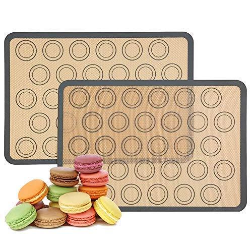 Set van 2 herbruikbare siliconen macaron-bakmatten 0,75 mm, niet-klevende herbruikbare siliconen voering, voor bakpannen en rollen, voor macaron, gebak, koekje, broodje, brioche, brood, 16,5x 11,6