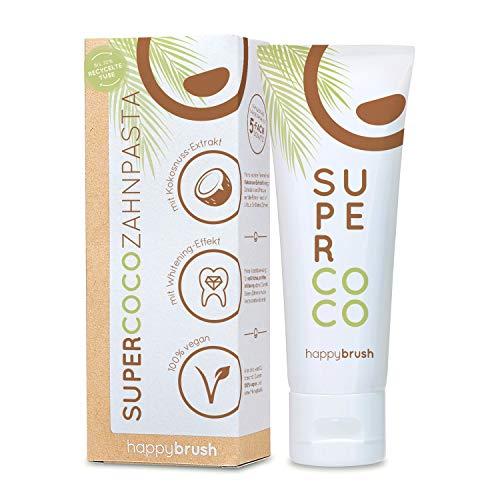 happybrush® Teeth Whitening Zahnpasta für natürliche Kokos Zahnaufhellung | Kokosnuss Zahnpasta SuperCoco für Weiße Zähne (5 Stück 75ml) (4)