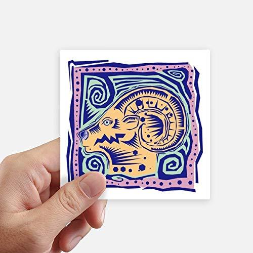DIYthinker Constellation Capricornus Mexicon Gravure Autocollant carré de 10 cm Mur Valise pour Ordinateur Portable Motobike Decal 8Pcs 10Cm X 10Cm Multicolor
