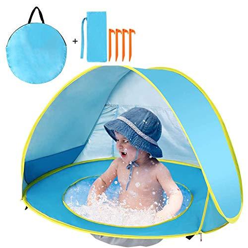 Afang Pop Up Beach Tent, Portable Kids Sun Shelter UV Protection Waterproof Windproof Beach Shade, Children's Travel Bed Multifunctional Indoor Outdoor