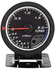 Hlyjoon Medidor de 60mm LED Turbo Boost Gauge con Soporte, Universal PSI Medidor Turbo Boost para Auto Racing Car 0-200 Kpa DC 12V Carcasa de Acero Inoxidable con Tapa de Vidrio