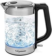 Glass Electric Kettle   BPA Free with Borosilicate Glass & Stainless Steel - 1.8 Liter Rapid Boil Cordless Teapot with Automatic Shut Off - the Best Hot Water Heater for Tea, Coffee, Soup, and More!
