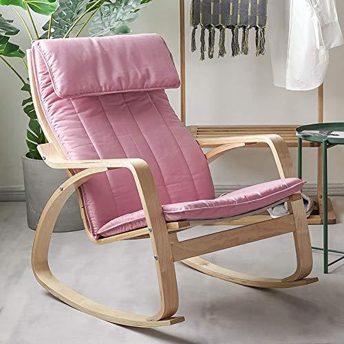 KTOL Stuhlauflagen Hochlehner-Auflage, Rocking Stuhl Sitzauflage Abnehmbare Reißverschluss Sitzkissen Terrasse Stuhlauflagen Mit Kissen Memory-Schaum Ohne Stuhl-rosa 135x56cm