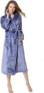 Color : Blue, Size : M HONGNA Spring and Autumn Mens Cotton Bathrobe Dark Blue Waffle Bathrobe Long-Sleeved Thin Sauna Bathrobe Hotel Bathrobe