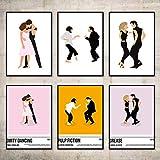 VVSUN HD Película clásica Pulp Fiction Posters e Impresiones Pinturas abstractas nórdicas en Lienzo Baile Arte de la Pared Imágenes Decoración para el hogar 30X40cm 12x16inchx6 Sin Marco