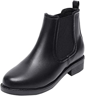 Jeapeer Women's Genuine Leather Chelsea Boots Slip On Low Heel Waterproof Lightweight Elastic Rain Ankle Booties