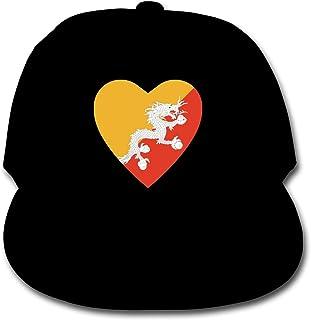 Bonshion Sombrero Ajustable de la Gorra de béisbol del Color sólido de la Bandera de Bhután para el Negro de la Muchacha de los Muchachos