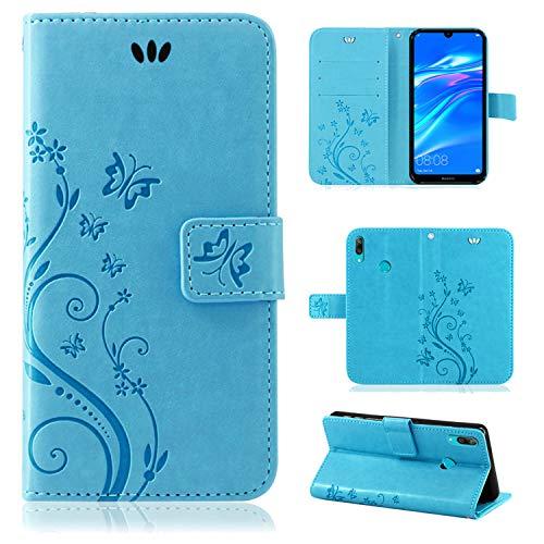 betterfon | Flower Hülle Handytasche Schutzhülle Blumen Klapptasche Handyhülle Handy Schale für Huawei Y7 2019 Blau