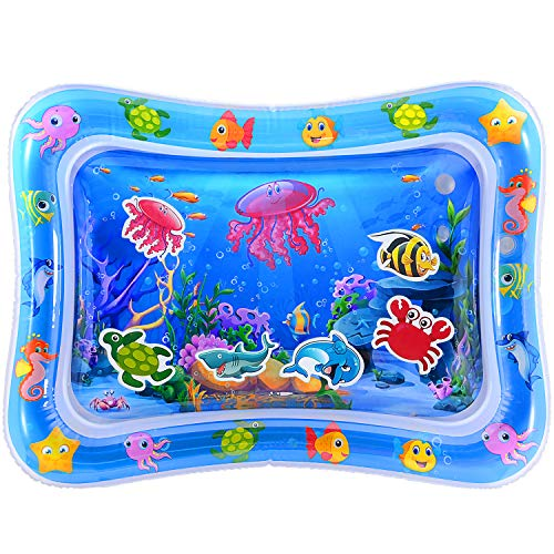 MAGIFIRE Tummy Time Baby Water Mat Infant Water Mat for 3 6 9 Months Boys Girls Promotes Visual Stimulation (Jellyfish)