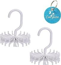 Caryko 360 Degree Rotating Twirling Scarf Organizers Tie Rack Hanger Closet Organizer, Set of 2 (White)