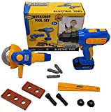 Toysery Kids Toy Power Tool Drill Set - Kids Power Construction Tool Electric Drill with 13 Pieces Including Battery - Non-Toxic ABS Plastic Tools for Kids with 2 Power Tools and 10 Accessories