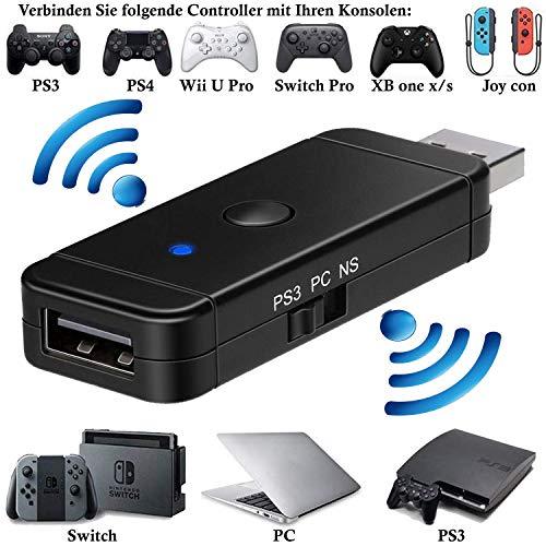 Wireless Bluetooth Controller Adapter Konverter für Nintendo Switch / PS3 / PC --- Verbinden Sie PS3, PS4, XBOX (one S/X), Switch Controller mit folgenden Konsolen: Switch / PS3 / PC