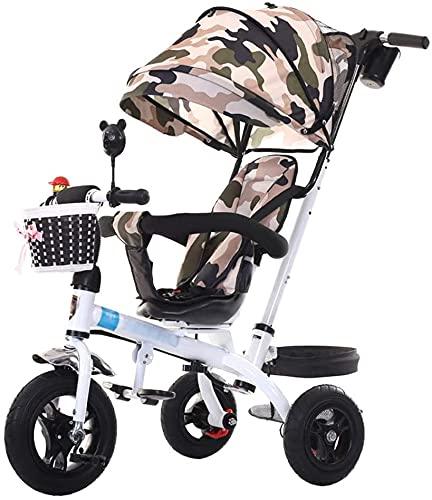 Bicicleta de triciclo de cochecito de bebé 3 en 1 para bebé para niños de 1-6 años de edad carro de carrito infantil  Embrague  Arnés de seguridad  Frenos   Cesta de almacenamiento grande