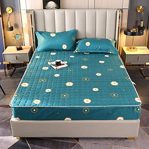 GmanXier Cepillado Acolchado Poja Ajustada 3D Ropa de Cama Impresa Colchón Protección de colchón Individual Double King Size Bed Regalo-D180 * 200 cm
