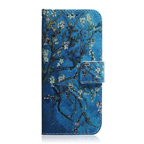 Sunrive Hülle Für BQ Aquaris E5s/E5, Magnetisch Schaltfläche Ledertasche Schutzhülle Etui Leder Hülle Cover Handyhülle Tasche Schalen Lederhülle MEHRWEG(T Blume 12)