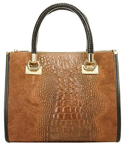 Cluty Handtasche Echt Leder cognac Damen - 017787