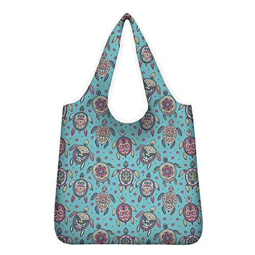 HUGS IDEA Boho Sea Turtle Cyan Blue Reusable Grocery Tote BagsThick Grocery Bag with Reinforced Handles Machine Washable Lightweight