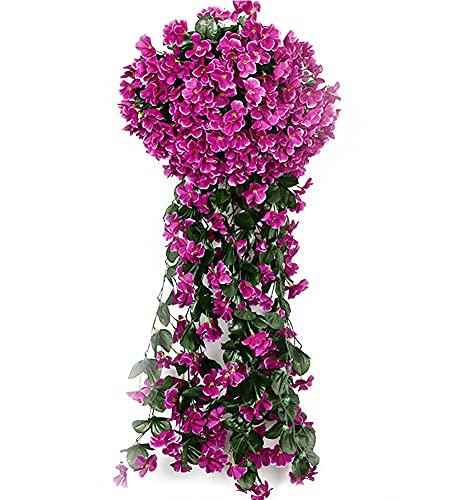 Cuisit 5petals - Guirnalda de flores artificiales colgantes con violetas artificiales para...