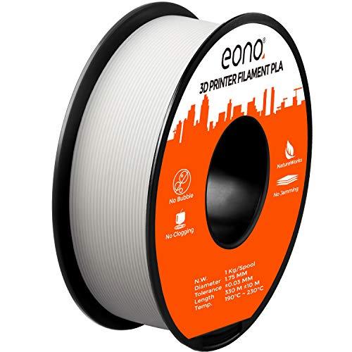 Eono by Amazon - PLA-Filament(1 Kilo) für 3D-Drucker, Verwicklung frei, Maßgenauigkeit von +/- 0,03mm, Geeignet für FDM-Drucker, 1,75mm-Weisses