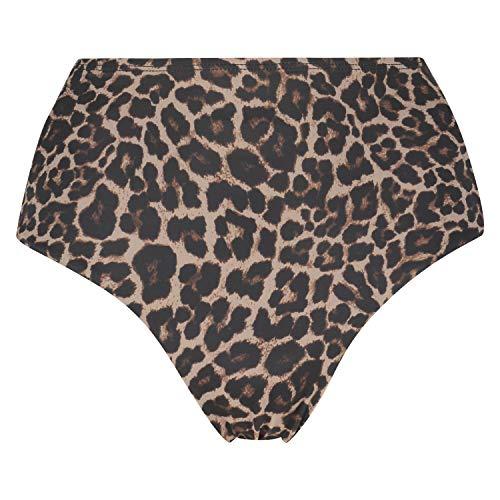 HUNKEMÖLLER Leopard frecher Bikini-Slip mit hohem Bein Beige L