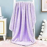 Exclusivo Mezcla Waffle Textured Soft Fleece Blanket, Baby Swaddle Blanket( Lilac Purple, 40 x 50 in)- Cozy, Warm and Lightweight