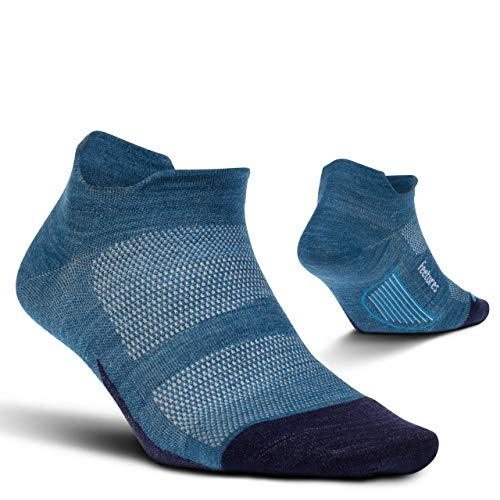 Feetures Unisex Merino 10 Ultra Light No Show Tab Sock Solid (Large, Nebula Navy)