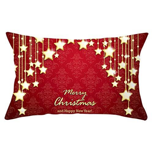 Aeici Federa Decorativa Cuscino,Federa Cuscino 30x50cm Federe Decorative Cuscini Natale Stelle Merry Christmas Oro Rosso