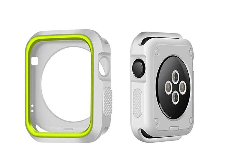 消化麦芽事前コンパチブル Apple Watch ケース 柔らかシリコン 防護時計ケース 精密操作 防汗 落下防止 耐衝撃性 脱着簡単 おしゃれ 便利 Apple Watch series 1/2/3/4対応 38/40/42/44mm ケース (42cm, シルバー+黄)