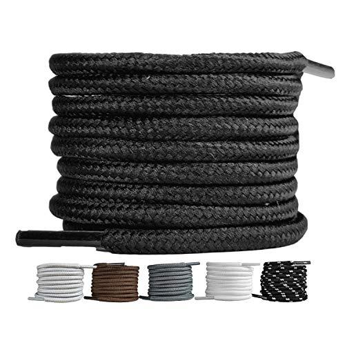LaceHype 2 Paar - Premium Runde Schnürsenkel [ Ø4 mm ] für Arbeitsschuhe, Stiefel, Outdoorschuhe und Sportschuhe reißfeste Schuhbänder Ersatz Shoelaces aus Polyester (Schwarz, 70)