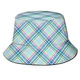 Sombreros de color pastel a cuadros en la diagonal en color azul, verde menta verde y rosa, de ala ancha, para verano, viajes, senderismo, deportes, playa, sol, sombrero de pescador, unisex