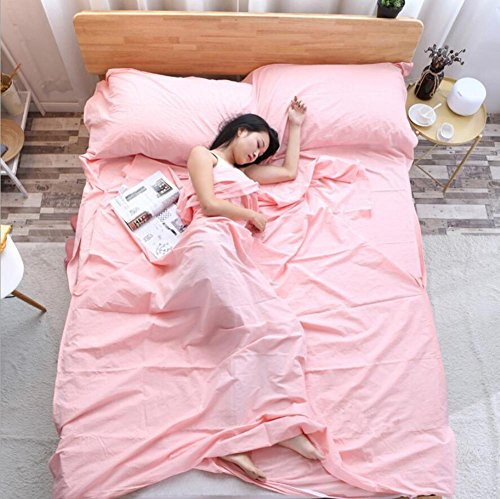 Double / Single Person Portable Envelope Type sac de couchage en coton Hotel Outdoor Four Seasons sac de couchage pliant adulte 3 tailles , Pink , 120*215cm