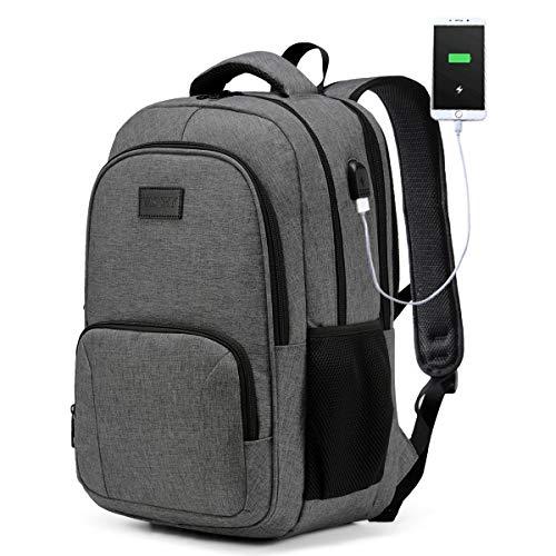 Laptop Rucksack, VASCHY Wasserabweisend Schulrucksack für 15,6 Zoll Laptop Großer Rucksack für Herren Damen Reise Hochschule Schultasche mit USB Ladeanschluss Kohlengrau