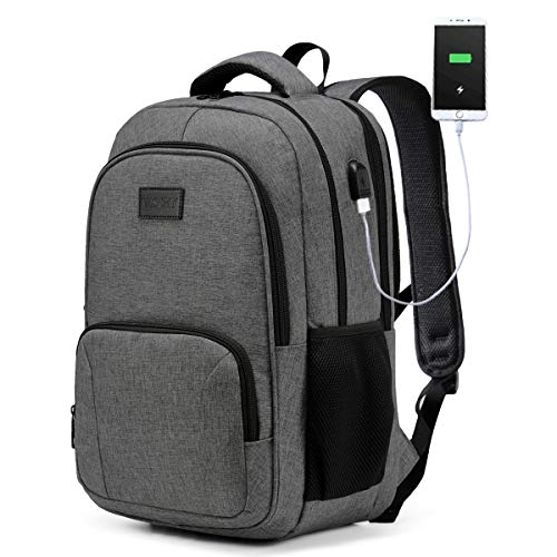 Laptop Backpack,VASCHY Water Resistant College Students Large Travel Backpack for Men and Women with USB Charging Port Carry-on School Backpac(Charcoal Grey)