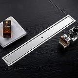 Signstek Linear Shower Drain - 60 cm, Tile Insert, 304 Stainless Steel Bathroom Linear Drain