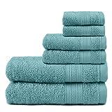 TRIDENT Juego Toallas - Soft & Plush - 100% algodón, 500 gsm, 6 Pieza Juego Toallas - 2 Toallas de baño, 2 Toallas de Mano, 2 paño de Lavado, súper Absorbente (Azul Nilo)