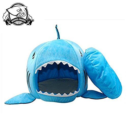 BADASS SHARKS Shark Dog Bed Winter Pet Products Warm Soft Dog House Pet Sleeping Bag Kennel Cat Bed Cat House 42cm/50cm (42cm, Blue)