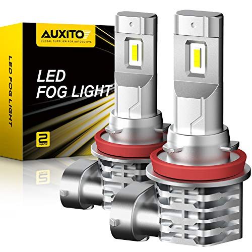 AUXITO H11 H8 LED Fog Light Bulb Fanless, 3400LM Per Set, 6500K Cool White, CSP LED Chips, H8 H16 H11 Fog Light Bulbs or DRL Replacement, Pack of 2