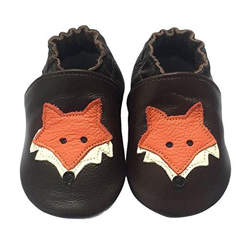 Freefisher Lauflernschuhe, Krabbelschuhe, Babyschuhe - in vielen Designs, Orange Fuchs auf Braun, 18-24 Monate