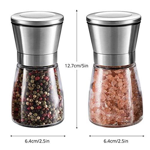 Llxxx Pepper Grinder-2 PC Zout en Peper Molen Shakers, RVS Handmatige Zee Zoutmolens, Verstelbare Keramische Peper Grinder