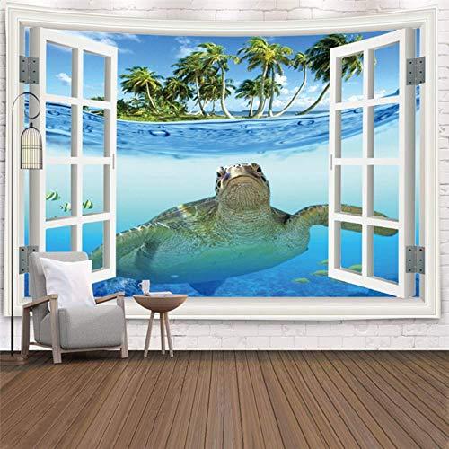 Ventana de imitación paisaje tapiz montado en la pared árbol tropical tapiz artista decoración del hogar mar amanecer dormitorio en casa