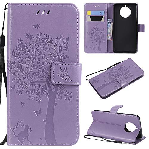 CMID Cover Nokia 9 PureView, PU Cuoio Portafoglio Custodia Libro Antiurto in Piedi Protettiva [Carta Credito] Case per Nokia 9 PureView (A-Viola Chiaro)