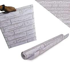 Papel de Parede Tijolo Pedra Branca Auto Adesivo Rustico Vinilico Lavavel (bsl-42079-1-B)