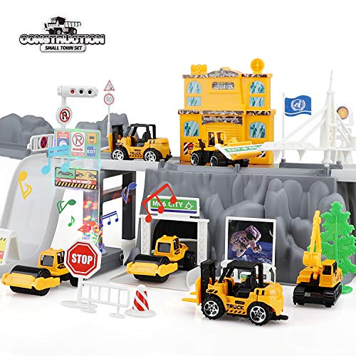 TOY Life Construction Toys and Garage Playset with Die Cast Toy Trucks for 3 4 5 6 Year Old Boys and Girls - Toy Construction Trucks for Kids Construction Toys - Toy Dump Truck and Bulldozer Play Set