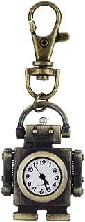 Reloj de Bolsillo - Classic Metal Robot Quartz Pocket Watch Llavero Reloj Collar Mujeres Hombres Cadena y Llavero
