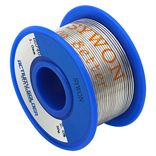 Sywon 60-40 Tin Lead Rosin Core Solder Wire 0.039' 50g for Electrical Soldering and DIYs