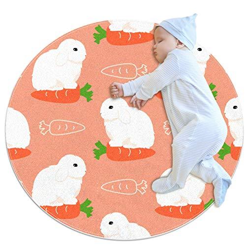 Alfombra de círculo para niños, se utiliza en la habitación familiar, sala de estar, sala de juegos, decoración de suelo de mini conejo francés Lop