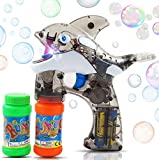 Haktoys Cartoon Fish Bubble Shooter Gun, Ready to Play Light Up Blower w/ LED Flashing Lights, Extra Refill Bottle, Whale Bubble Blaster Toy for Toddlers, Kids, Parties, Sound-Free, Batteries Included