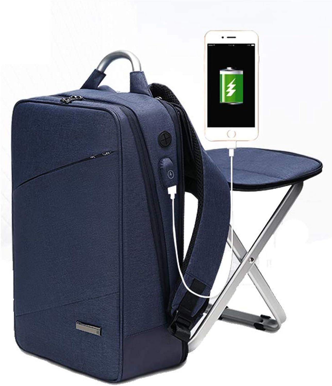 HYRL Business Rucksack Doppel-Schultertasche Bag eingebauter Stuhl, Fashion Trend Bag Groe Kapazitt 15,6 Freizeitcomputer Bag,Blau